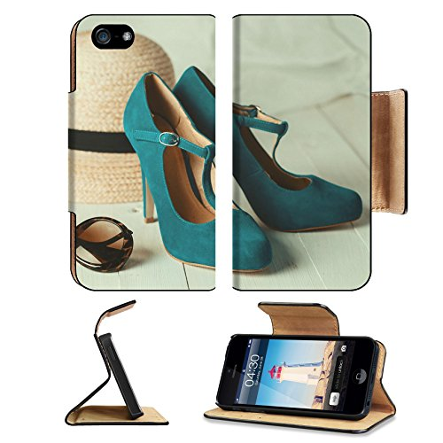 MSD Premium Apple iPhone 5 iPhone 5S Flip Pu Leather Wallet Case iPhone5 IMAGE ID: 31115665 Retro style image of female fashion straw hat sun glasses and turquoise shoes over - Sunglasses Kate Mary