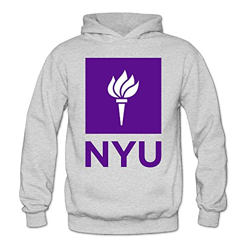 XJBD Women's New York University NYU Fashion Hooded Sweatshirt Ash Size XL