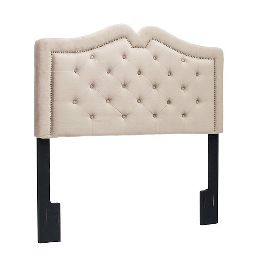 Button-Tufted Sweetheart Headboard Nailhead Upholstered Adjustable Headboard-Queen -Taupe