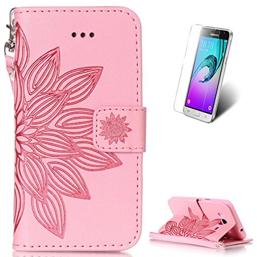 Samsung Galaxy J3 2016 Leather Wallet Case  With Free Screen Protector  Kasehom Mandala Lotus Flower Embossed Folio Magnetic Flip Stand Pu Leather Protective Case Cover Skin Shell Pink  2