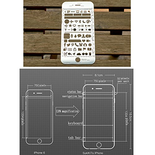 ZZ Lighting Novelty Creative iPhone 6 Draft Drawing Pad for App Design and UI Design (Sketch Pad+Stencil Kit+Pencil) by ZZ Lighting (Image #5)