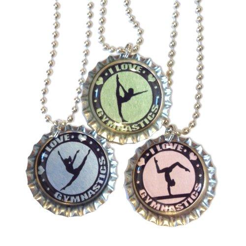 Gymnast Bottlecap Necklaces - Set of 3 ()