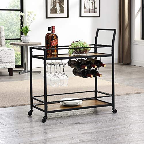 "FirsTime & Co. Gardner Industrial Bar Cart, 32""H x 15""W x 12.25""D, Rustic Brown"