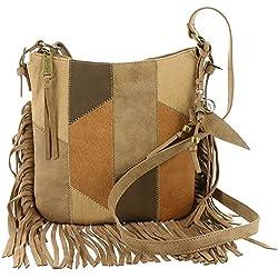 Jessica Simpson Women's Delilah Patchwork Top Zip Crossbody Neutral Patchwork Crossbody Bag