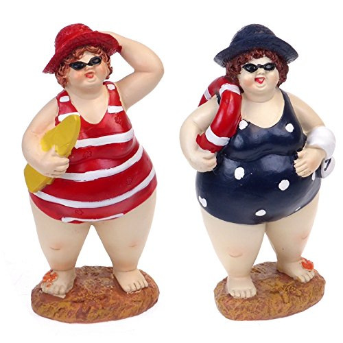 BIG & BEAUTIFUL Pair of Fat Beach Belle Lady Swimmers - BATHROOM ORNAMENTS - Humorous BATHERS Couple FIGURINES - 17cm