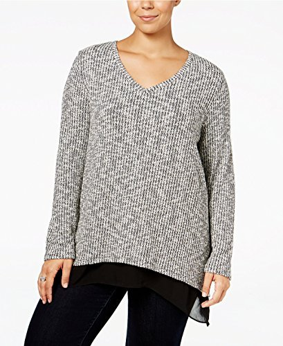 Style & Co. Womens Plus Jacquard Layered Sweatshirt Black 3X