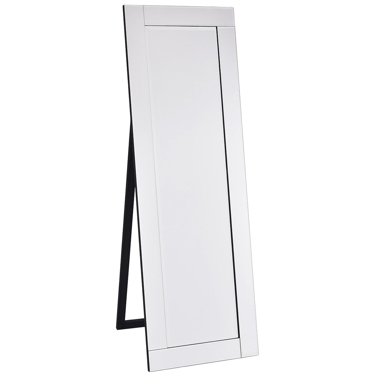 Giantex Full Length Dressing Mirror Wooden Frame Home Bedroom Floor Free Standing Mirror Silver