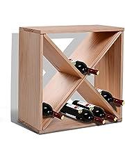 HOMCOM Wooden Wine Rack for 24 Bottle Square Tabletop Storage Holder Stand