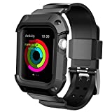Apple Watch Case Series 2 Series 1, UMTELE Rugged Protective Case with Strap Bands for Apple Watch Series 2 Series 1 Sport Edition 42mm Black (Screen Protectors Included)