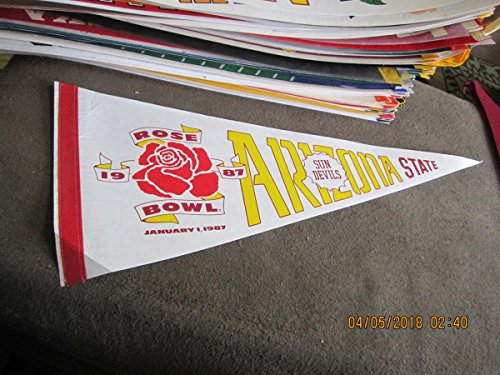 1987 ASU arizona State Rose Bowl full Size pennant bx2 em white