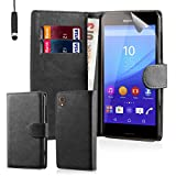 32nd Book Style Faux Leather Wallet Case Cover for Sony Xperia M4 Aqua Cell Phone - Black