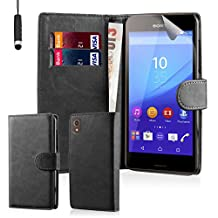 32nd Book wallet PU leather case cover for Sony Xperia Z5 cell phone - Black