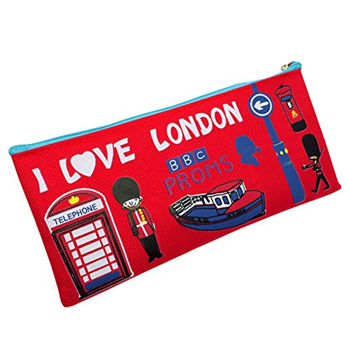 Trenton Students Pen Pencil Bag Case Cartoon London Style Zipper Cosmetic Pouch Coin Purse