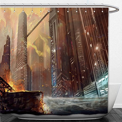 interestlee-shower-curtain-illustration-the-city-after-war-realistic-style-scene-wallpaper-design-29