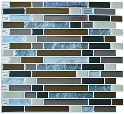 "Crystiles Peel and Stick Self-Adhesive DIY Backsplash Stick-on Vinyl Wall Tiles for Kitchen and Bathroom Décor Projects, Item# 91010825, 10"" X 10"" Each, 6 Sheets Pack (White Silver Mosaic)"