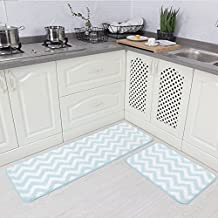 "Carvapet 2 Pieces Microfiber Chevron Non-Slip Soft Kitchen Mat Bath Rug Doormat Runner Carpet Set, 17""x48""+17""x24"", Aqua"