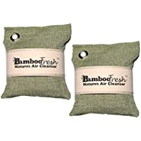 Bamboo Charcoal Air Purifying Bag, 2 Pack 400g Natural Freshener NON-TOXIC Purifier ~ NATURALLY ELIMINATES Odors, Allergens & Harmful Pollutants ~ Fragrance Free, Chemical Free ~ ReUse Up To 2 Years