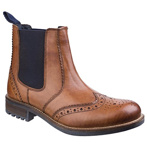 Cotswold Mens Cirencester Pull On Brogue Leather Chelsea Ankle Boots Tan