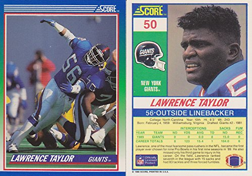 Taylor Lawrence Football Autographed - LAWRENCE TAYLOR SCORE 1990 #50 NY GIANTS FOOTBALL TRADING CARD + TOPLOADER