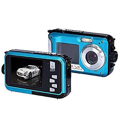 Camera,EEDI Original Fashion Double Screen Waterproof Camera 24MP 16x Digital Zoom Dive Camera-Blue