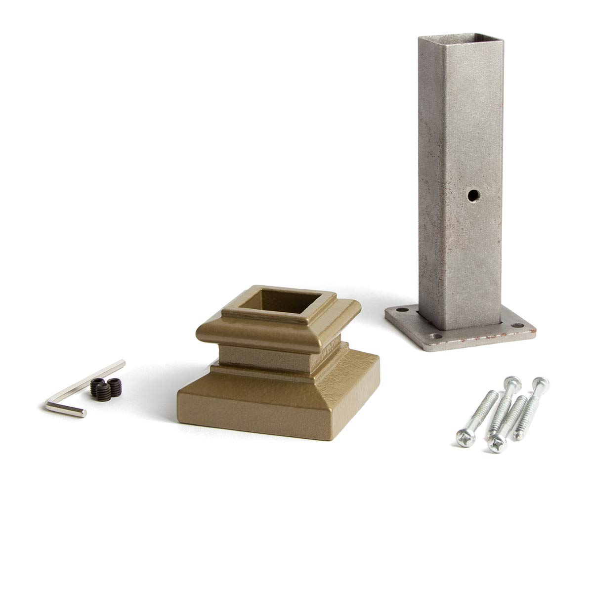 Dorado Gold 16.2.3 Newel Mounting Kit for 1-3/16 inch Square Iron Newel Posts for Stair Remodeling by House of Forgings