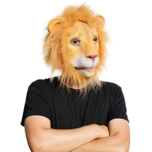 PartyCostume Latex Hunam face Mask (Lioness Halloween Costumes)