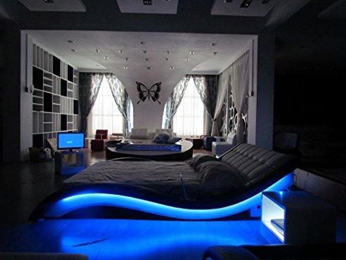 Woodbridge King Black Contemporary Led Leather Bed