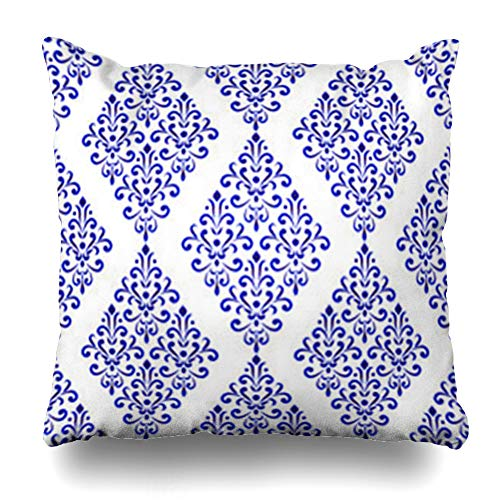(InterestDecor Throw Pillow Covers Pillowcase Vintage Antique Floral Damask Blue White Royal Oriental Pattern Baroque Porcelain Ceramic Abstract Zippered Square Size 20 x 20 Inches Cushion Case)