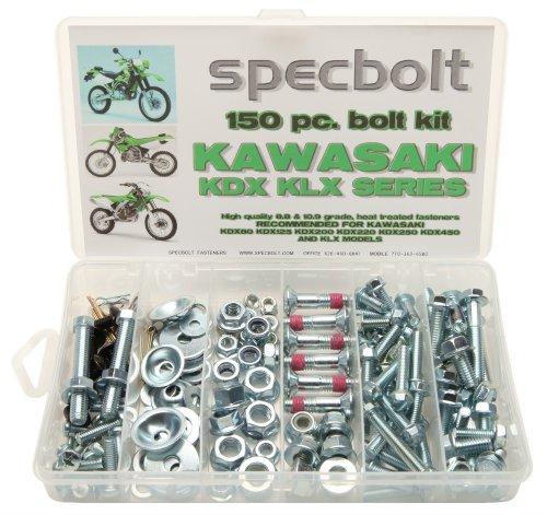 150pc Specbolt Kawasaki KDX two stroke Bolt Kit for Maintenance & Restoration of Dirtbike OEM Spec Fastener KDX80 KDX125 KDX175 KDX200 KDX220 KDX250 & KDX450 ()