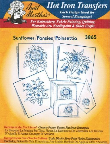 Sunflower Pansies Poinsettia Aunt Martha's Hot Iron Embroidery Transfer