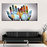 Be Good 3 Panel Wall Art Set Modern Oil Painting Map in the Palm Contemporary Prints on Canvas Decoration for Living Room Bedroom Home or Hotel Office Cafe Decor Gift Piece