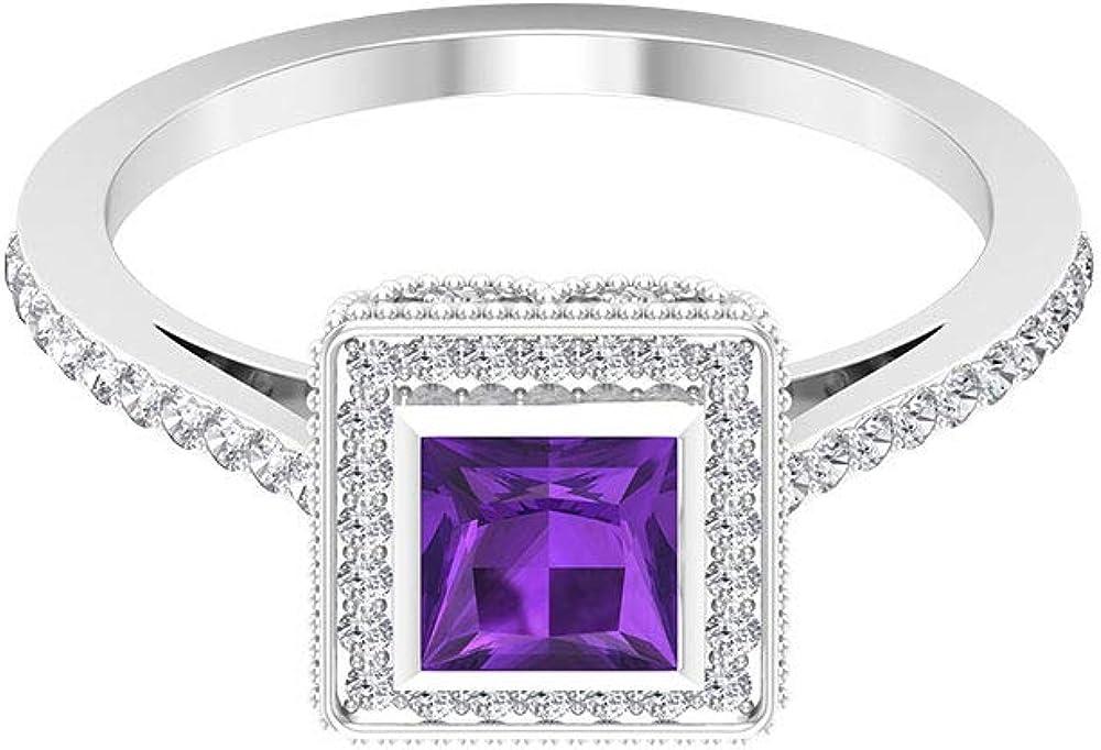 Anillo de boda de amatista de corte princesa de 0,46 quilates, anillo de novia con halo de diamante certificado SGL de 0,34 quilates, 10K Oro