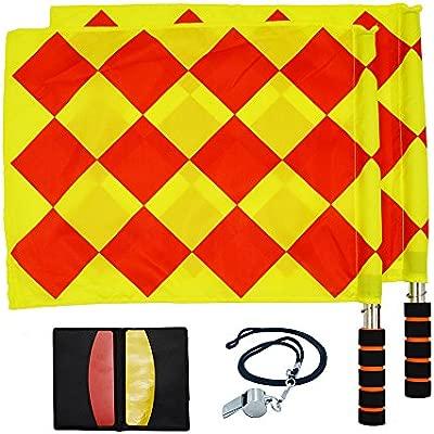 Kit para árbitro de fútbol. Incluye silbato, bandera de árbitro, tarjeta rojo y amarilla, y registro de bolsillo