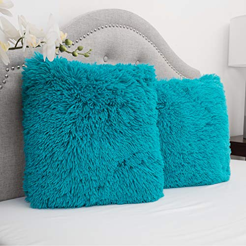 Plush Pillow Faux Fur Soft and Comfy Throw Pillow (2 Pack), Turquoise