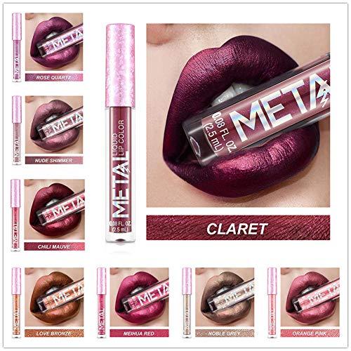 a91250bc3301 Softmusic Women Makeup Missyoung Metallic Pearly Liquid Lip Glaze  Long-lasting Non Sticky Lipstick 5#