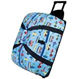 Kids Goods Best Deals - Wildkin - Good Times Rolling Duffel Bag, Olive Kids Trains/Planes and Truck, Azul, 22