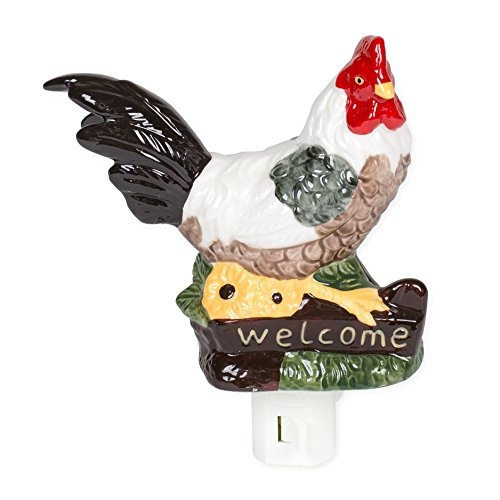 Welcome Rooster 5.5 Inch Porcelain Swivel Plug In Decorative Night (Rooster Light Fixtures)