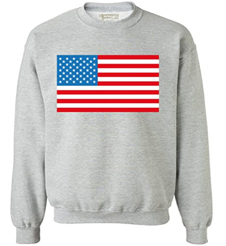 Awkward Styles Unisex American Flag Sweatshirt Crewneck USA Flag Patriotic Grey 4XL (Usa Sweatshirt Flag)