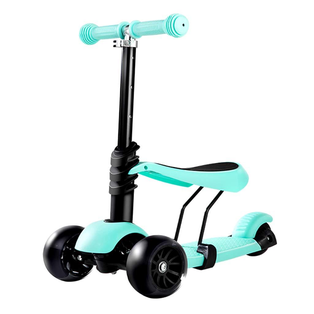 Scooter para niños Scooter Tres en uno Scooter Seguro y Estable para bebés Apto para niños de 2 a 14 años de Edad (Color : Blue)