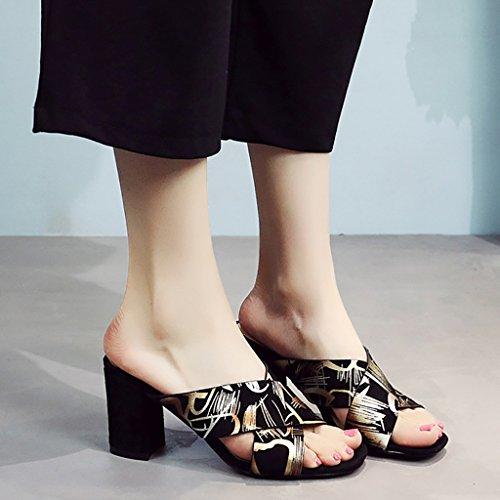 PENGFEI Chanclas de playa para mujer Zapatillas de compras de verano Zapatillas de tacón alto Zapatillas de playa Mujer Sandalias de ocio de moda Oro y rojo Cómodo y transpirable ( Color : Rojo , Tama Oro