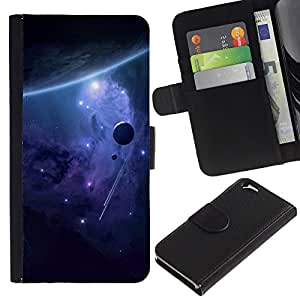 Billetera de Cuero Caso Titular de la tarjeta Carcasa Funda para Apple Iphone 6 4.7 / Space Galaxy / STRONG