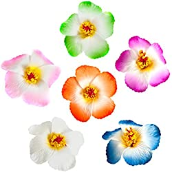 CoCoHe 6Pcs Hair Clips Hawaiian Hibiscus Flower 3.9 Inch for Occasions Wedding Beach Party Decoration (Multiple Color 1)