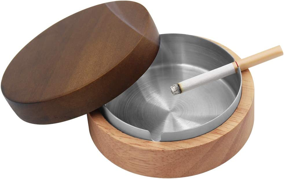 Cosaving Ashtray with Lid - Home Ashtrays for Cigarettes - Indoor/Outdoor Ash Tray Windproof - Wooden Ash Holder Stainless Steel with 3 Slot for Office Home Decor