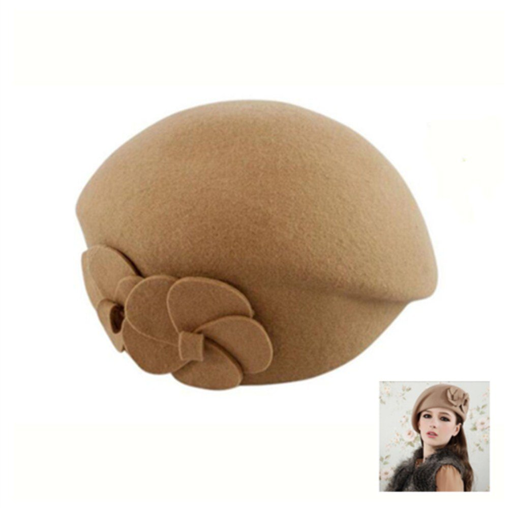 MAXGOODS Women's Winter Beret Warm Wool Cap Hat Elegant British Style (Beige) GG5065