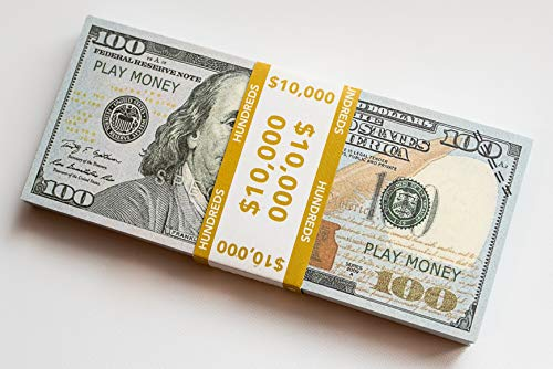 $10,000 Realistic Play Money | Prop Money | $100 Dollar Bills | Full Color Front & Back | Educational | Novelty Gift | Fun for All | Bank Notes for $<!--$9.97-->