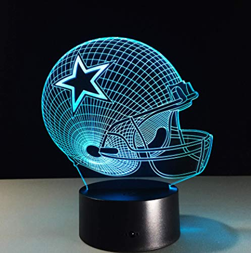Football Helmet Light - Touch Control Football Helmet Light Lamp- Upgraded Color Changing Touch Light - Night Light for Boys Men Women - Perfect Gift for Football Sports Lovers (Dallas Cowboys) (Nfl Lamp Touch)