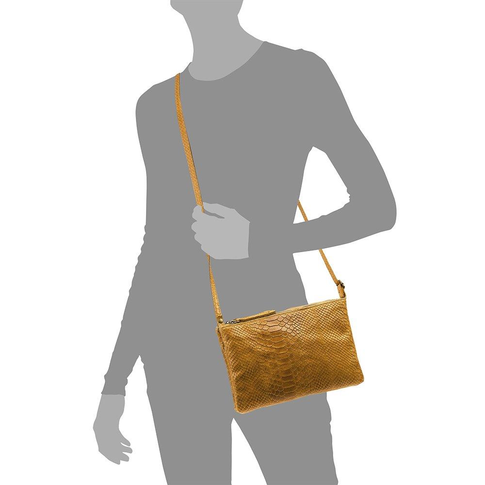 Color Leather Firenze ARTEGIANI.Bolso Mujer Piel aut/éntica.Bolso Cuero Genuino Grabado Serpiente.Asa Corta y Bandolera Made in Italy Vera Pelle Italiana Bolso de Mano Mujer 25x16x4 cm