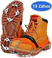 AUHIKE Upgraded Version 19 Spikes Traction Cleats Ice Snow Grips with Tear-Resistant Gasket Seamless Welded Steel Safe Prote