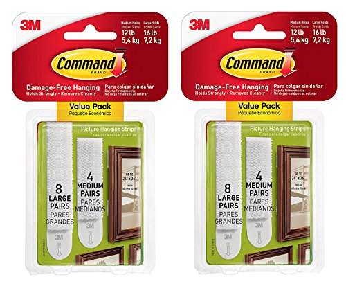 Med Hanging (3M Picture Hanging Strips Medium/Large 8 Med Strips, 16 Lg Strips per Pack (17209-ES),2 PACKS)