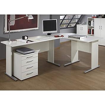 Lomado Buromobel Winkel Eck Schreibtisch Set In Weiss C Fuss